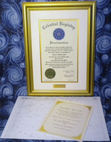 Gold Plated Celestial Registry® Document
