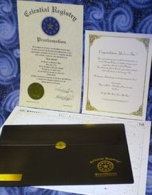 Official Celestial Registry® Document